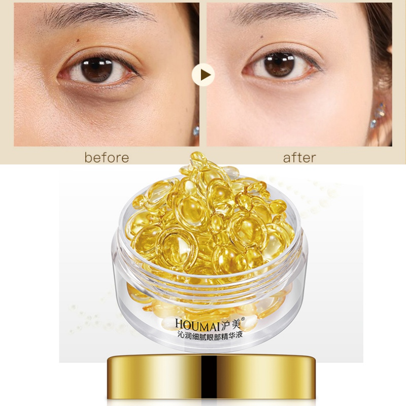 30 Pcs Capsules Gold Eye Serum Anti-Puffiness Lighten Fine Lines Remove Dark  Eye Essence