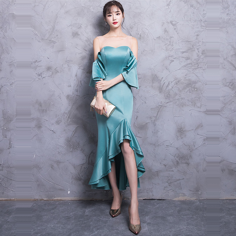 Evening     Dress   Short Sleeve Women Party   Dresses   2019 Chiffon Off The Shoulder Robe De Soiree Solid Elegant   Evening   Gowns F204