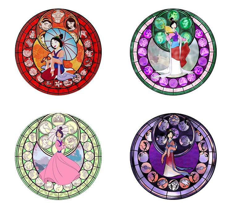 Hot Sale 5pcs16mm20mm25mmNew Fashion Kingdom Hearts Mulan Stained Handmade Photo Glass Drop Style Cabochons Jewelry Accessories