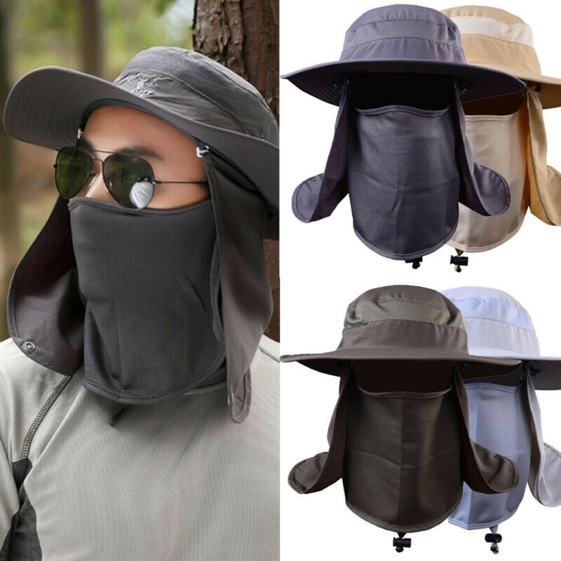 360°UV Protection Ear Neck Cover Sun Hat Flap Cap Outdoor Fishing Hunting Hiking