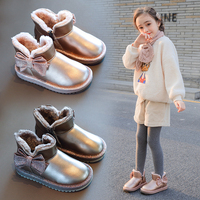AAdct girls snow boots 2019 winter little kids boots for girls princess new cotton fur warm children shoes Genuine leather
