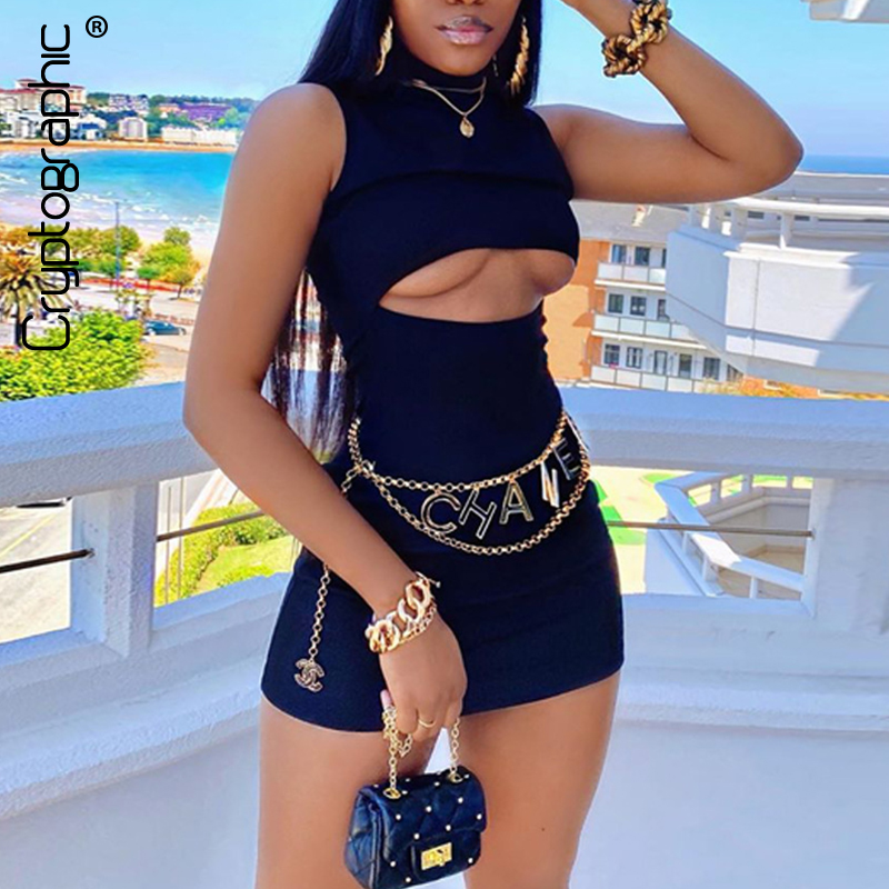 Cryptographic Elegant Sleeveless Mock Neck Mini Bodycon Dress Birthday Solid Sexy Cut-Out Women's Dresses Fall 2020 Clothing