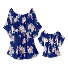 New Mother Daughter Matching Clothes and Shoulder Print Ruffled Dress Five Sleeve Family Look Mommy Me