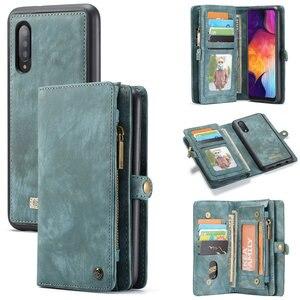 Оригинальный чехол-бумажник для телефона Samsung Galaxy A50, роскошные многофункциональные съемные Кожаные чехлы 2 в 1 для Samsung A 50