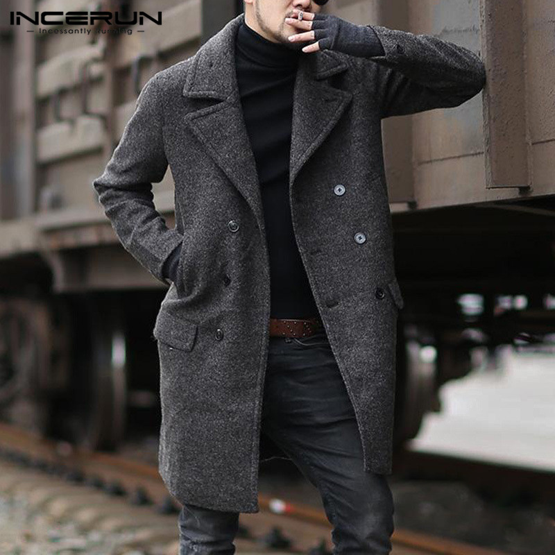 Mens Solid Color Jackets INCERUN Winter Faux Wool Blends Fashion Long Sleeve Lapel Coats Pockets Double Breasted Overcoats 5XL 7