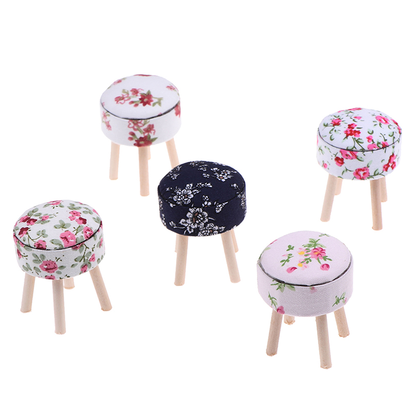 Round Floral Stool Chair ACC For Dolls House Decor Kids Children Pretend Play Toy 1/12 Scale Dollhouse Miniature Furniture