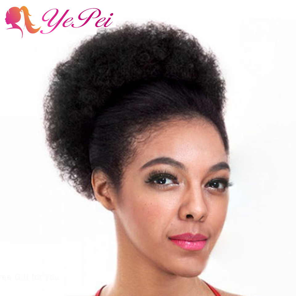 Yepei Afro Drawstring Ponytail Human Hair African Puff Hair Bun Clip In Extensions Kinky Curly Pony Tail Remy 8 Inch