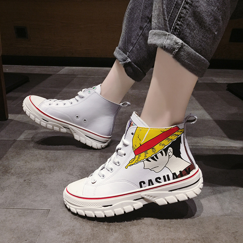 High top shoes female 2019 new Korean version ulzzang student Graffiti design sneakers leather Vulcanized shoes basket femme