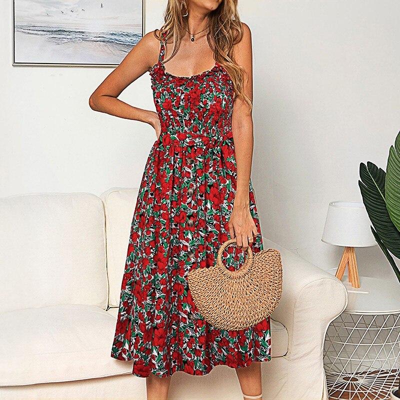 Сексуальное с открытой спиной без бретелек хлопковое летнее платье женское элегантное 2019 цветочный принт с отворотом миди платья для вечеринок Vestidos