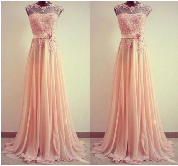 A Line Crew Lace Applique Long Custom Robe De Soiree Cheap Party Plus Size Pink Chiffon Prom Gown Bridesmaid Dresses