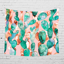Modern Simple Wall Hanging Tapestry Cactus Printed Polyester Cloth Tapestries Home Decor Picnic Throw Blanket Yoga Mat