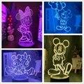 Светодиодсветодиодный лампа «Минни Микки Маус» из мультфильма Disney, ночсветильник из акрила с визуальной иллюзией, настольная лампа 7 цвето...