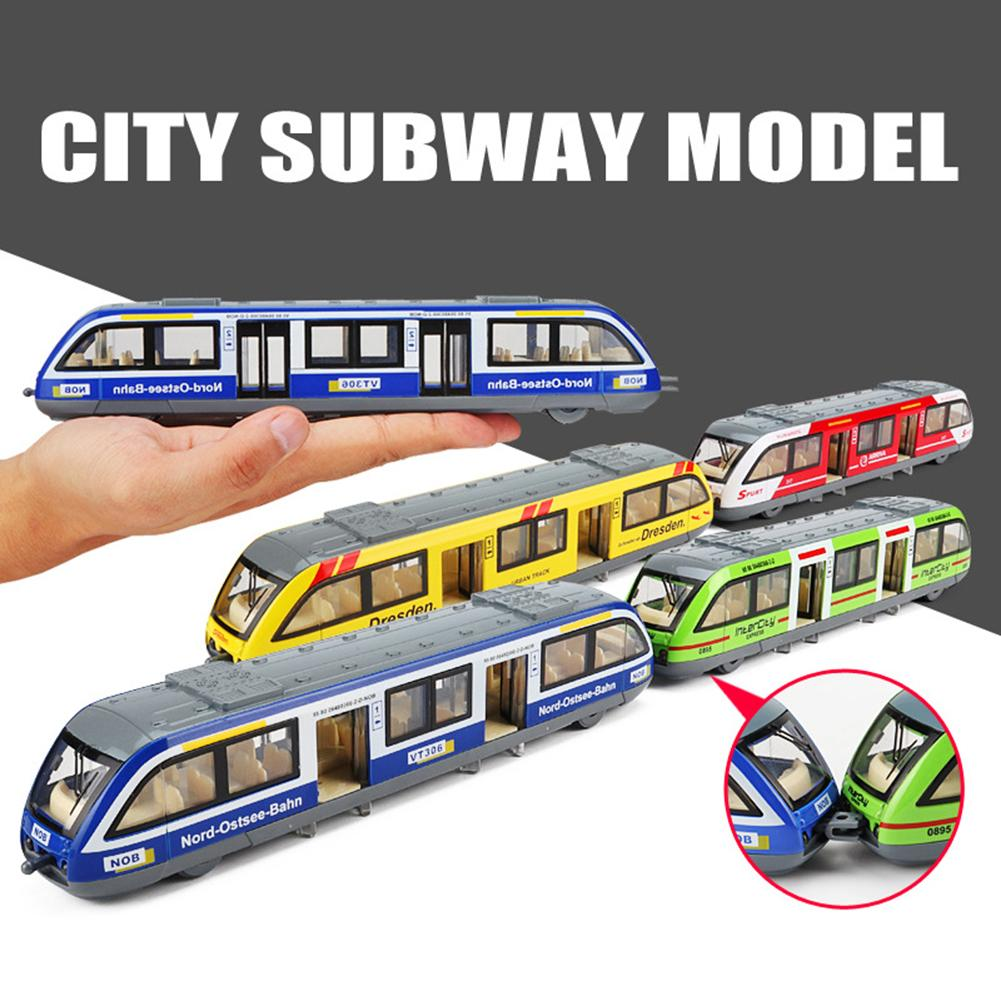 1/64 Pull back Rail Train Model with Light Music Sound Kids Preschool Learning Toy Simulation Train Subway Education Toy For Kid