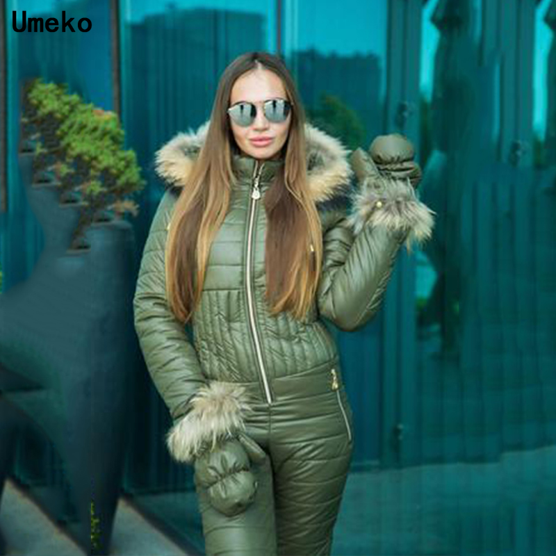 Umeko New Winter Hooded Jumpsuits Parka Cotton Padded Warm Sashes Ski Suit Straight Zipper One Piece Women Casual Tracksuits
