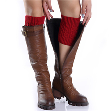 1Pair Winter Thick Warm Knitted Leg Warmers Socks Boot Cover Stripe For Women Lace Stretch Boot Leg Cuffs Boot Socks