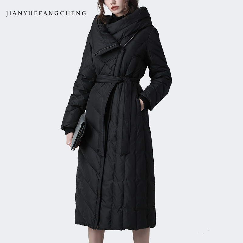 Fashion Over-Knee Length Women Long   Down     Coat   Warm Thicken Hooded Outwear Winter   Coats   Loose Plus Size Female   Down   Trench   Coat