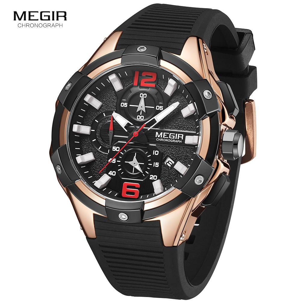 Megir Роскошные Брендовые мужские силиконовые спортивные часы