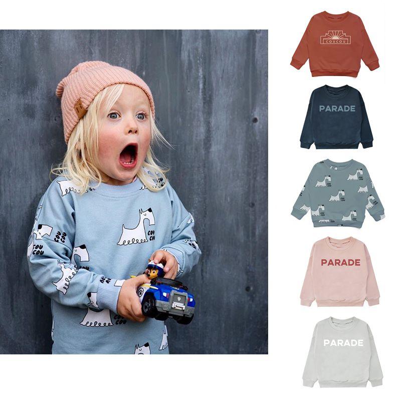 2021 Autumn Kids Long Sleeve T-shirt Sweatshirt Baby Girls Clothes Boys Jackets Coats Cartoon Tops Vacation Toddler Outfit Tops 1