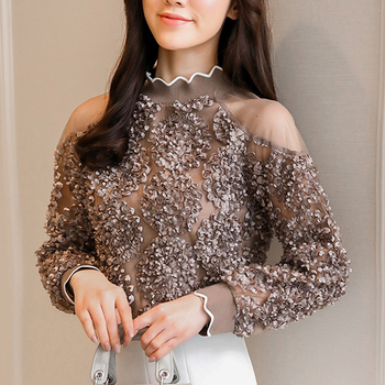 Coffee Rose Sexy Mesh Women Top 2020 Spring Blouses Shirts Ruffle Long Sleeve Cold Shoulder Tops Causal Pleated Blusas 907G lace applique lantern sleeve cold shoulder top