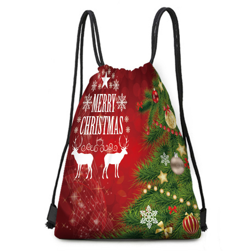 Christmas Elk Print Backpack Large Capacity Gift Bags Xmas Tree Pattern Candy Bags For Kids Christmas Decoration Drawstring Bags