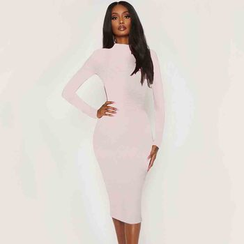 Ocstrade Bandage Dress 2020 Fashion Nude Long Sleeve Bandage Sexy Cut Out Dress Bodycon Celebrity Evening Club Party Dress long sleeve asymmetric cut out tee