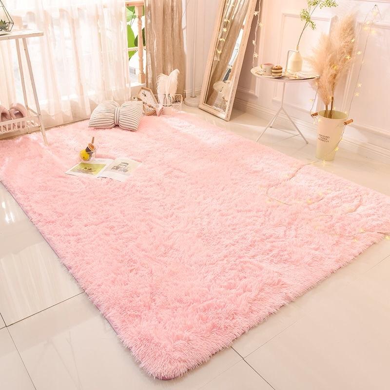 Purple Carpet Area-Rug Bedroom Mat Floor-Mats Dyeing-Plush Anti-Slip Living-Room Pink