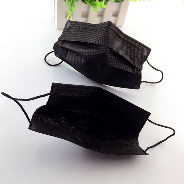 50PCS Mouth Mask Disposable Non-Woven Black Face Mouth Masks 3 Layer Anti-Dust Activated Anti Pollution Mouth-muffle 17.5x9.5cm 3