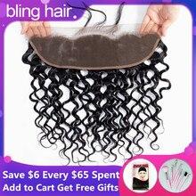 Bling Hair perruque Lace Frontal Closure naturelle brésilienne Remy ondulée, 13x4, 6x6, pre plucked, avec Baby Hair, couleur naturelle