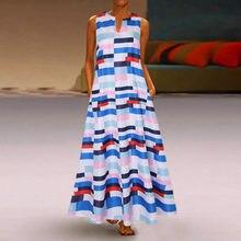 Plus tamanho vestidos femininos vintage impressão splicing bolso vestidos casuais sem mangas boêmio maxi vestido longos de verao
