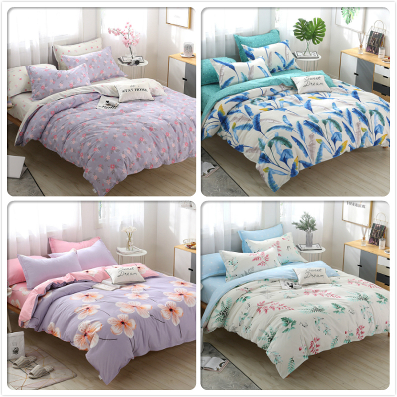 Flower Pattern Duvet Cover Pillowcase 3pcs Bedding Set Adult Kids Cotton Bed Linens Quilt Pillow Case 160x200 180x220 200x230 Cm