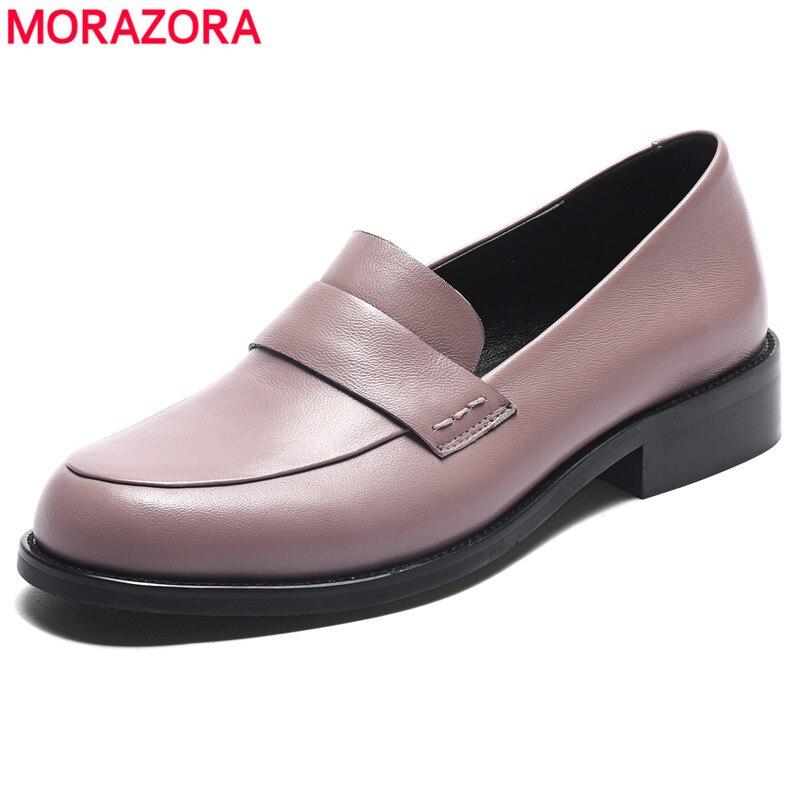 Morazora plus size 33-44 novo 2020 couro genuíno mulher apartamentos deslizamento em mocassins femininos primavera sapatos casuais senhoras sapatos planos
