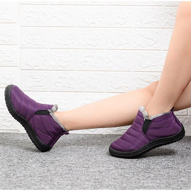 Snow Boots Women Shoes Warm Plush Fur Ankle Boots Winter Female Slip On Flat Casual Shoes Waterproof Ultralight Footwear 19
