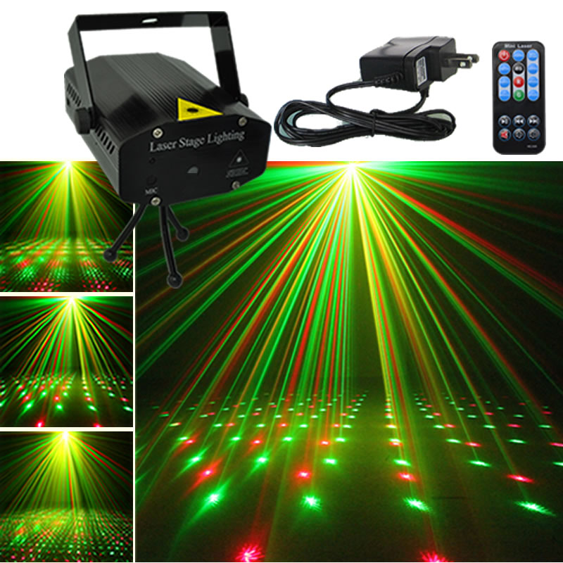 Mini Portable IR Remote Red Green Beam Discolamp Luz Laser Projector DJ KTV Home Xmas Party Show Dsico LED Stage Lighting