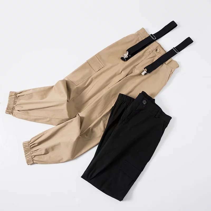 Autumn INS Hot Selling High-waisted Bib Overall Women's Europe And America Fashion Adjustable Elasticity Suspender Pants Loose-F