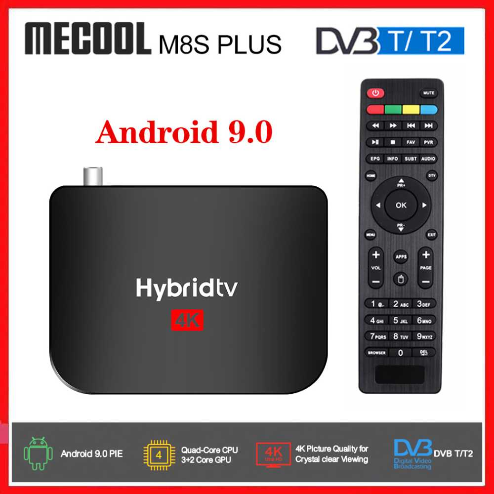 2020 NEW Mecool M8S PLUS T2 Hybrid TV Box Android9.0 DVB-T2 Satellite ReceivrAmlogic S905X2 Quad Core 2GB 16GB 1080p 4K