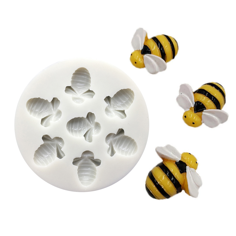 Bee Flower Silicone Mold Fondant Cake Chocolate Candy Jello Silicone Decorating Tools image