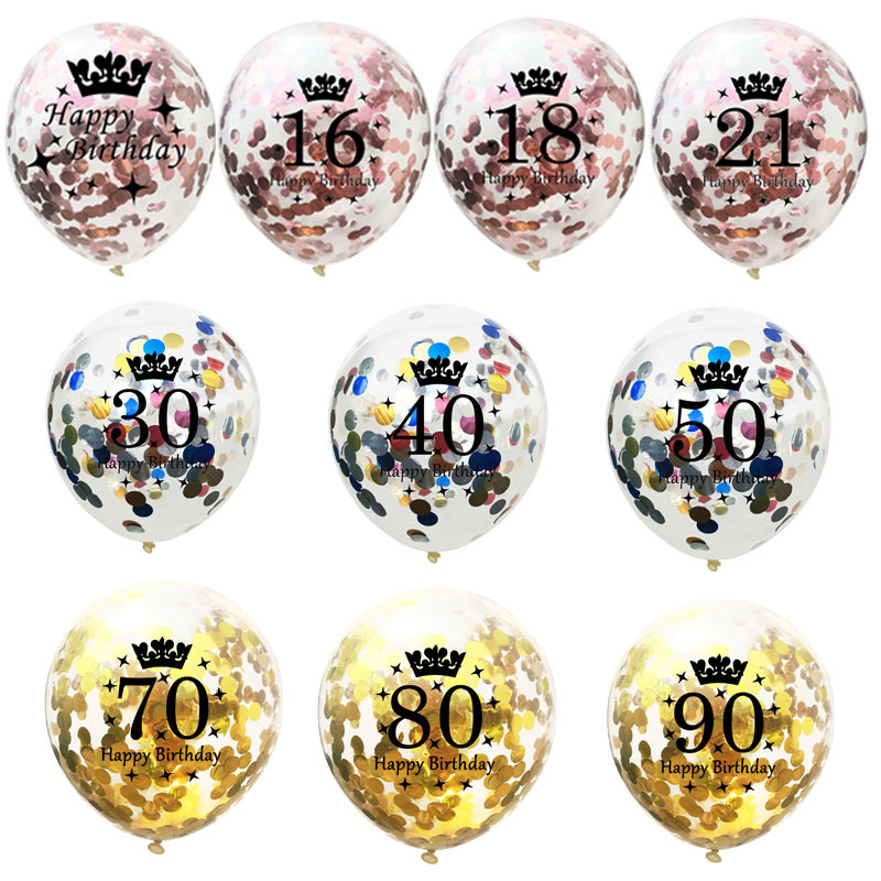5pcs 12inch Confetti Balloons Latex Birthday Balloon 16 18 21 30 40 50 60 70 Years Old Birthday Party Anniversary Decorations