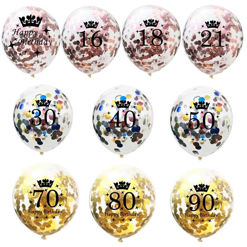 Balões confete de 12 polegadas, balão de látex de aniversário 16 18 21 30 40 50 60 70 anos de idade decorações de aniversário de festa
