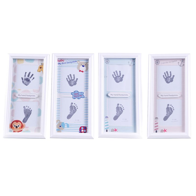 Newborn Infants Hand Foot Print Mud Photo Frame Baby Souvenir Hundred Days New Parents Gifts Wall Decoration R7RB