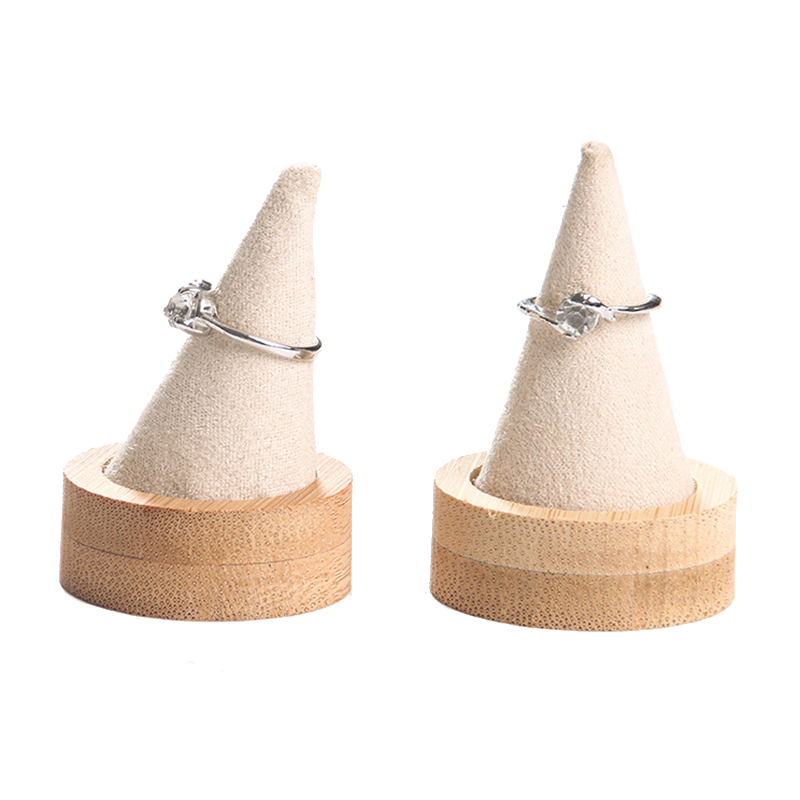 Bamboo Beige Fingertip Oblique Cone Ring Display Stand Case Ring Holder Jewelry Display Stand Ring Showcase Storage