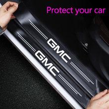4 pçs porta do carro de fibra carbono vinil porta soleiras adesivos para mustang G-M-C logotipo acessórios carro