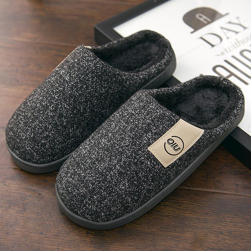 Men Winter Warm Slippers Fur Slippers Men Boys Plush Slipper Cotton Shoes Non-slip Solid Color Home Indoor Casual Slippers 4