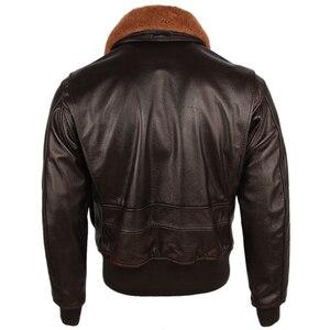 Image 2 - Chaqueta de cuero para hombre, 100% gruesa, piel de becerro, acolchada, con cuello de piel Natural, chaqueta de cuero desgastado Vintage, abrigo cálido para invierno, M253