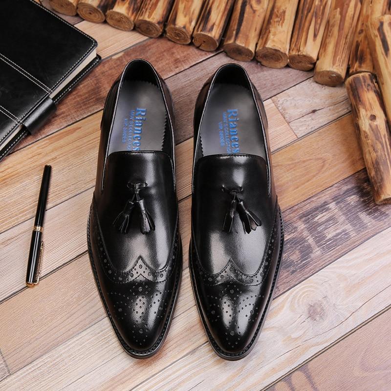 Genuine Leather Men Dress Shoes Business Party Wedding Suit Brogue Bullock Tassel Slip On Point Toe Oxford Shoes For Men G276