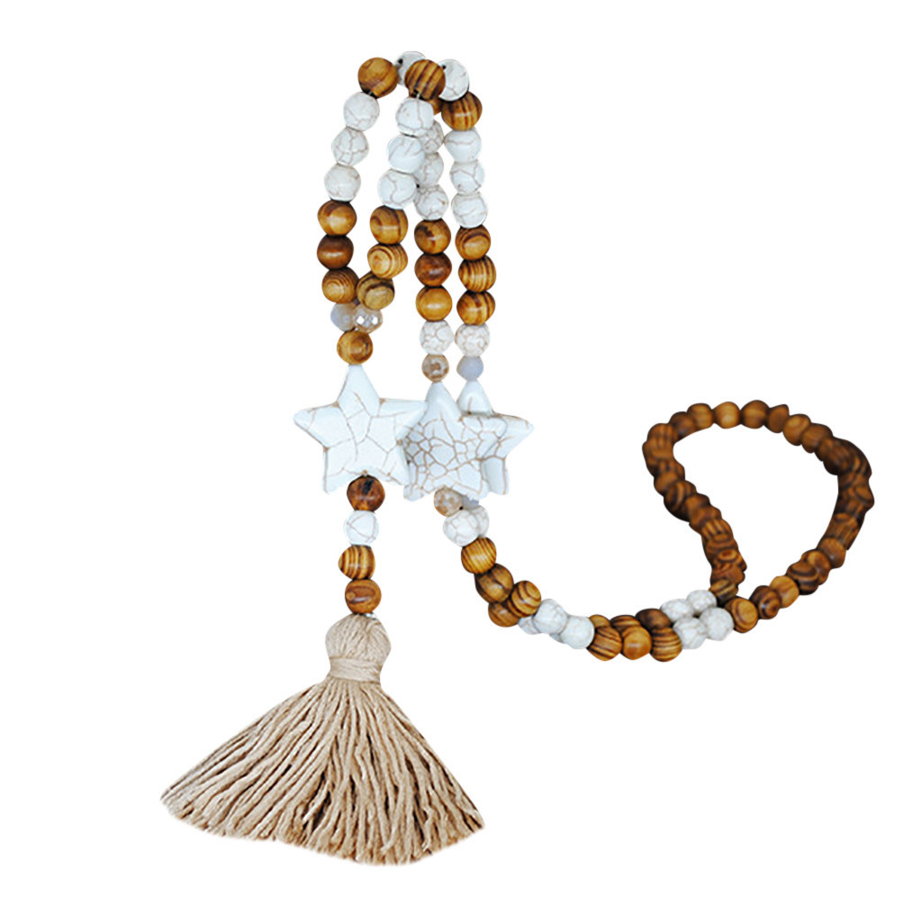Womens Pendant Necklace Fashion Accessories Necklace Jewelry Maxi Natural Star Heart Stone Wood Beads Necklaces Pendants for Women Tassel