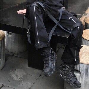 Image 2 - Calças de carga de hip hop streetwear 2019 harajuku calças com zíper traseiro fivela fita hiphop corredores harem calças bolsos outono preto