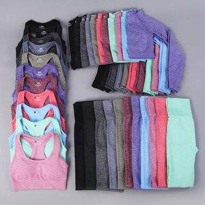 7 cores ginásios sem costura yoga conjunto de fitness ternos do esporte ginásio conjunto roupas colheita superior camisas cintura alta correndo leggings calças