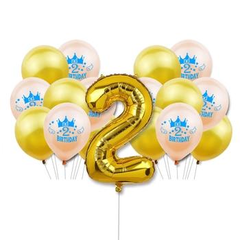 ZLJQ 2 do Feliz cumpleaños globos niño niña 2 años de edad fiesta decoración dos años látex Baloon número Ballon Baby Shower