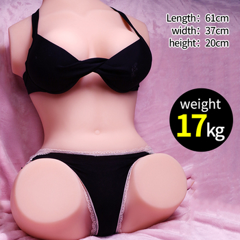 17kg 1:1 fresh solid lifelike full silicone sex doll torso Masturbation big breast for male with Skeleton inside and vagina anal