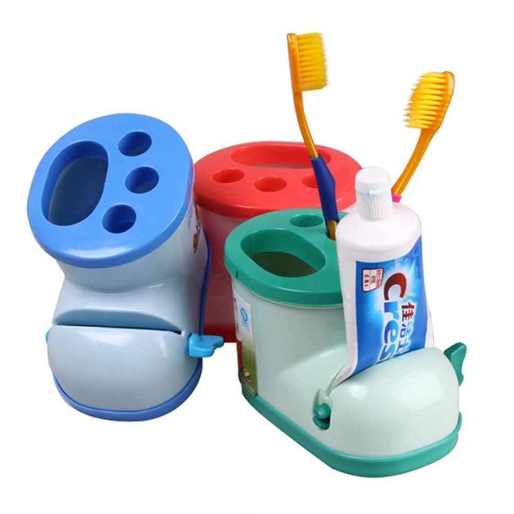 3 Colors Creative Bathroom Cute Boots Shape Toothbrush Holder Storage Box With Toothpaste Squeezer image